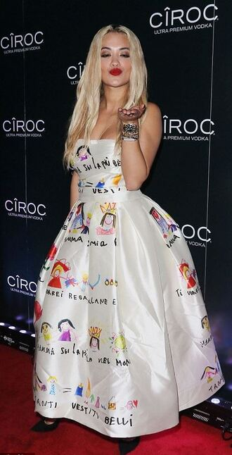 dress gown strapless bustier rita ora new year's eve