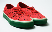 vans,authentics,shoes,watermelon print,sneakers,fruits,pink,green,summer