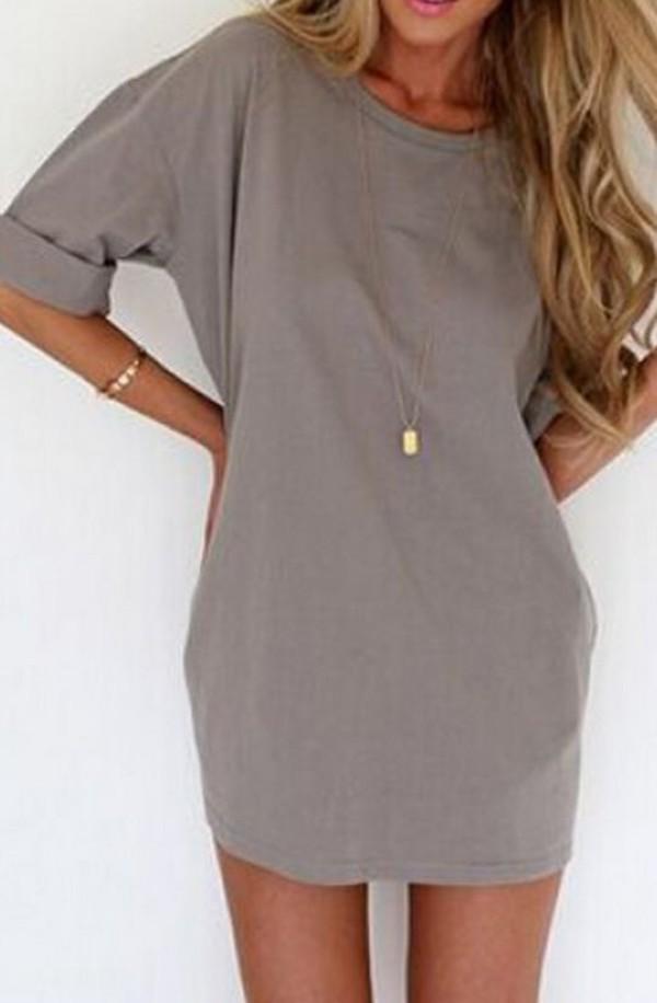 dress t-shirt t-shirt dress slate rolled sleeves high neck line grey casual dress shirt grey dress