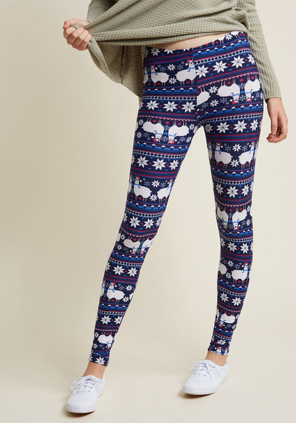 PR202807 leggings soft fire navy print blue knit pants