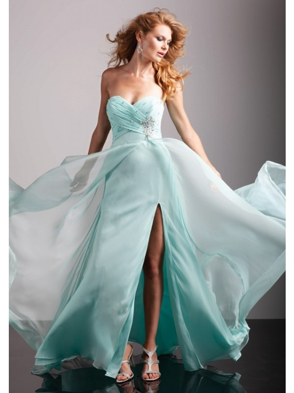 A-line Sweetheart Sleeveless Chiffon Prom Dresses/Homecoming Dresses With Split