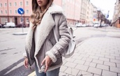 coat,winter coat,grey coat,shearling jacket