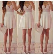 dress,shoes,jewels,bag,pink,white dress,lace,lace dress,cute,beautiful,white,clothes,high heels,clutch,feminine,girly,skirt,teenagers,summer,dressy,style,prom dress,cute dress,pretty,pink dress,party dress,beige dress,corset top,mini dress,short prom dress,pastel,nude,short dress,shirt,slit dress,statement necklace,skater dress,cream high heels,fashion,swag,rose,hipster,top,strapless,high waisted skirt,ivory,ootd,pink and white dress,jolie,mignon,adirable,white skirt,pink top,pink shirt,summer outfits,outfit,strapless dress,peep toe pumps,light pink dress,bustier dress,party oufit