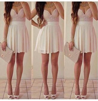 dress light pink dress white skirt bustier dress party dress party oufit