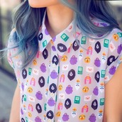shirt,adventure time,white,yellow,multicolor,nickelodeon,blue,purple,pink,pastel,black,jake,finn,marceline,bubblegum,princess,bmo