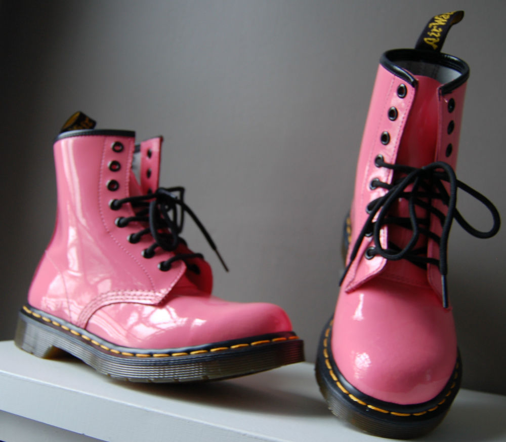 Authentic Original Dr Doc Martens Pink Patent Leather Combat Boots Sz 6 New | eBay