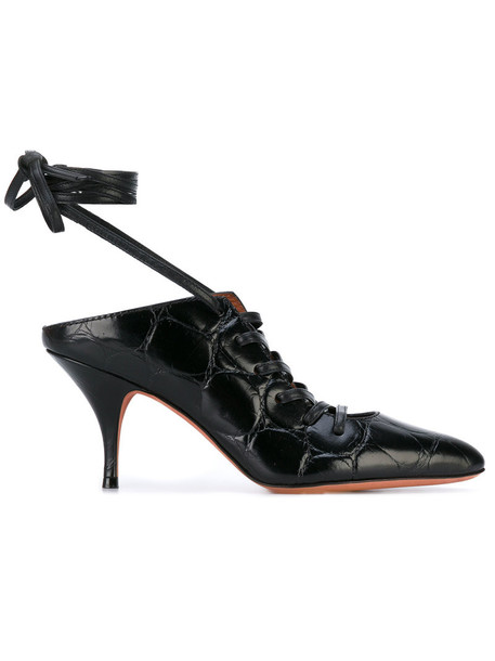 Givenchy women mules lace leather black shoes