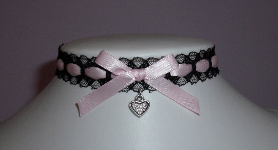 pink heart choker black lace bow necklace ribbon by jusdesigns