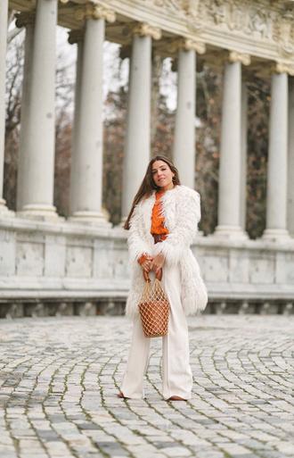 mypeeptoes blogger sweater coat pants belt bag shoes fuzzy coat faux fur coat winter outfits