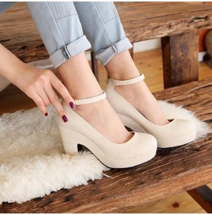 Black apricot new fashion women's thick high heels shoes platform wedges pumps