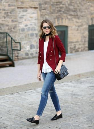 pennypincherfashion blogger top t-shirt jeans pants sweater jacket scarf shoes tank top skirt bag jewels blazer red jacket shoulder bag loafers