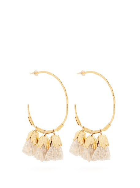 ELISE TSIKIS tassel earrings hoop earrings white jewels