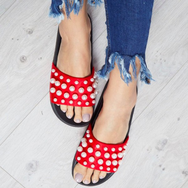 shoes blue vanilla red sandals sandals pearl slide shoes summer sandals summer  shoes red shoes summer accessories