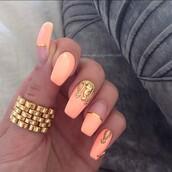 nail accessories,nails,nail jewelry,handmade,nail art,nail fashion,nail charm,nail armour,gold,peach,peach polish,nail polish,gold foil,nail set,summer nails,nail shields,alleycat jewelry,alleycat nails,alleycat nail jewelry,gold nails,nail lacquer,lacquer,diy nails,diy nail art