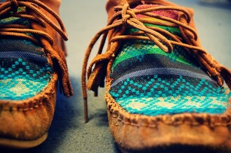 leather moccasins colorful