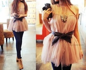 shirt,chiffon,flow,pink,jewels,blouse,frilly,dressy,black,top,dress,pretty,bow,cute,tulle skirt,black ribbon,sleeveless,fancy,accesoires,pants,shoes,bag