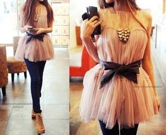 shirt chiffon flow pink jewels blouse black top dress pretty bow cute tulle skirt black ribbon sleeveless fancy
