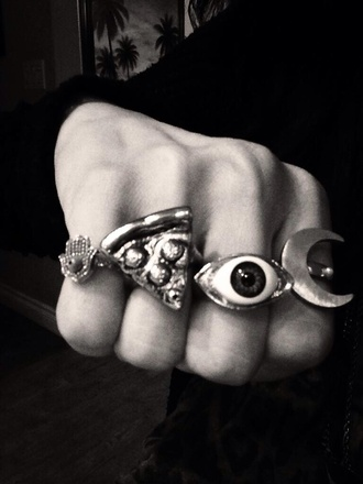 jewels gold silver ring pizza pizza ring eye eye ring moon moon ring hamsa hamsa hand hamsa ring gold ring silver ring