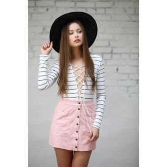 skirt pink suede skirt pink skirt suede skirt mini skirt top striped top lace up top fedora black fedora hat black hat summer outfits