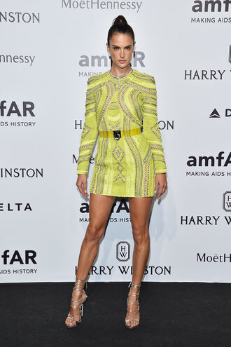 dress yellow yellow dress alessandra ambrosio fashion week sandals mini dress