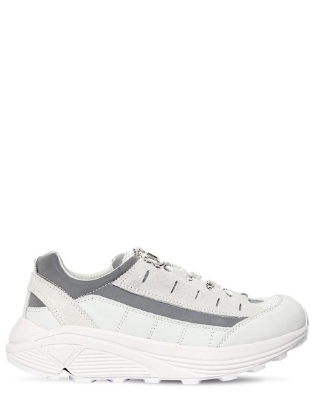 GANNI 40mm Iris Leather & Suede Sneakers in silver / white