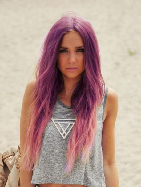 jewels triangle purple hair tank top pastel hair necklace diamonds diamond shape beach silver
