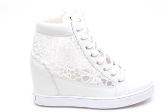 shoes guess shoes guess pretty cute lace sneakers heels sneaker heels wedge heels white