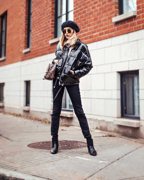 jacket tumblr black jacket down jacket denim jeans black jeans boots black boots beret all black everything