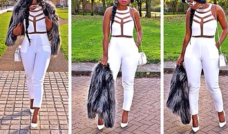 t-shirt cut-out white jumpsuit classy elegant top pants ebonylace.storenvy ebonylace-streetfashion dress jumpsuit romper