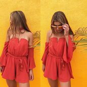 romper,choker necklace,sheer,fashion,rust,summer,spring,ootd,outfit,love,style,happy,inexpensive,clothes,cut-out,front tie,tie dress,tie romper,trendy,off the shoulder,off the shoulder dress,off the shoulder romper,bellexo,tie dye sweater