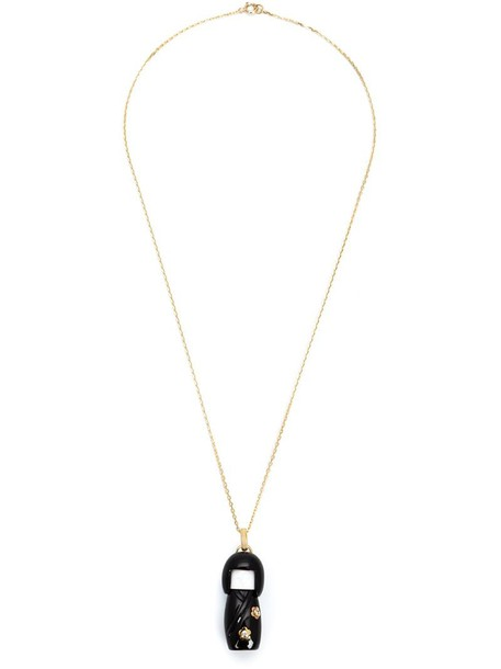 women necklace gold black jewels