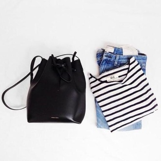 bag black bag black backpack striped top blue jeans bucket bag hipster