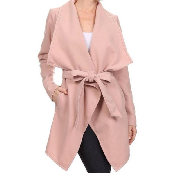 Jacket: blush pink, nude, coat, wide lapel - Wheretoget