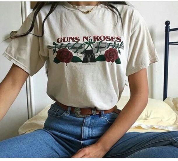 shirt guns and roses t-shirt white red tumblr vintage gunsnroses  bandtee roses guns n roses logo band t-shirt rock band top from guns 'n roses white t-shirt girly