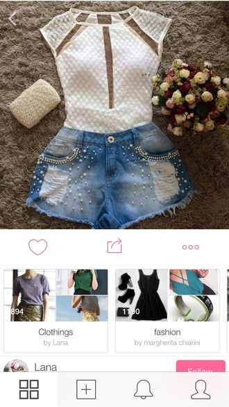 shirt wow nice cool style pearls cool grunge high waisted shorts