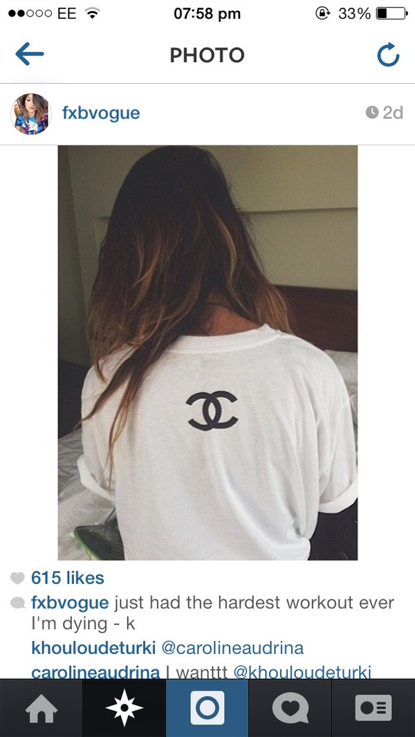 t-shirt white t-shirt chanel tumblr