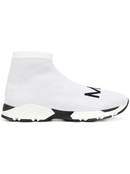 Mm6 Maison Margiela women sneakers leather white knit shoes