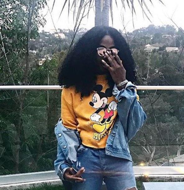 sweater e.j king yellow mickey mouse hoodies