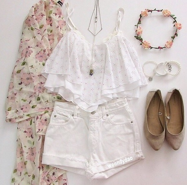 cardigan top floral jewels white tank top shirt t-shirt blouse floral blouse skirt cute shorts hair accessory shorts