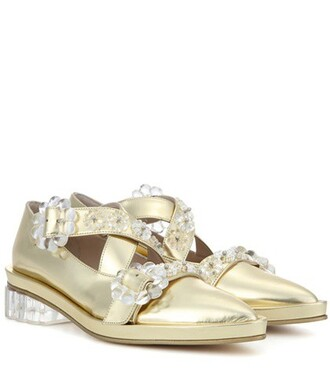 metallic embellished pumps leather gold shoes