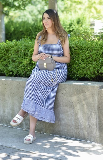 gumboot glam blogger dress jewels bag shoes gingham flats sandals maxi dress summer dress blue dress