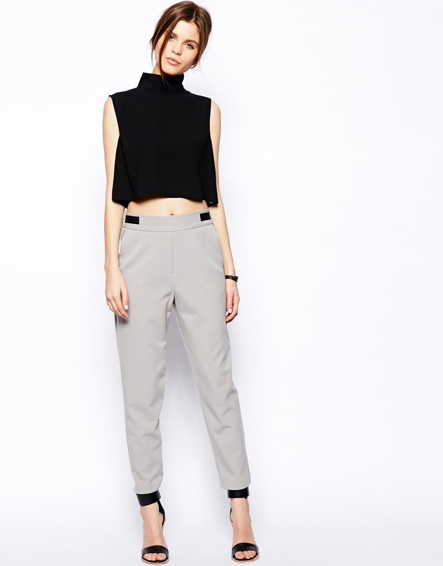 ASOS High Neck Sleeveless Crop Top at asos.com