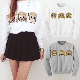 shirt women pullover print monkey sweatshirt women pullover print monkey print monkey sweatshirt white white shirt grey black skirt cute lovely lovely sweatshirt girl girly lady outfit long sleeves short shirt sexy casual clothes grey pullover cute outfits lovely shirt fall outfits fall sweater winter outfits winter sweater girly wishlist girly outfits tumblr casual t-shirts casual chic