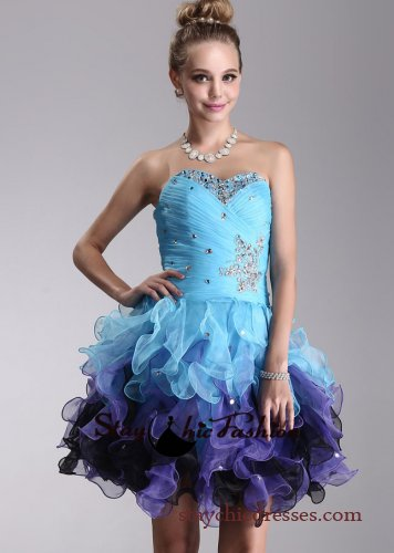 Short Ruched Top Strapless Beaded Blue Purple Ruffled Homecoming