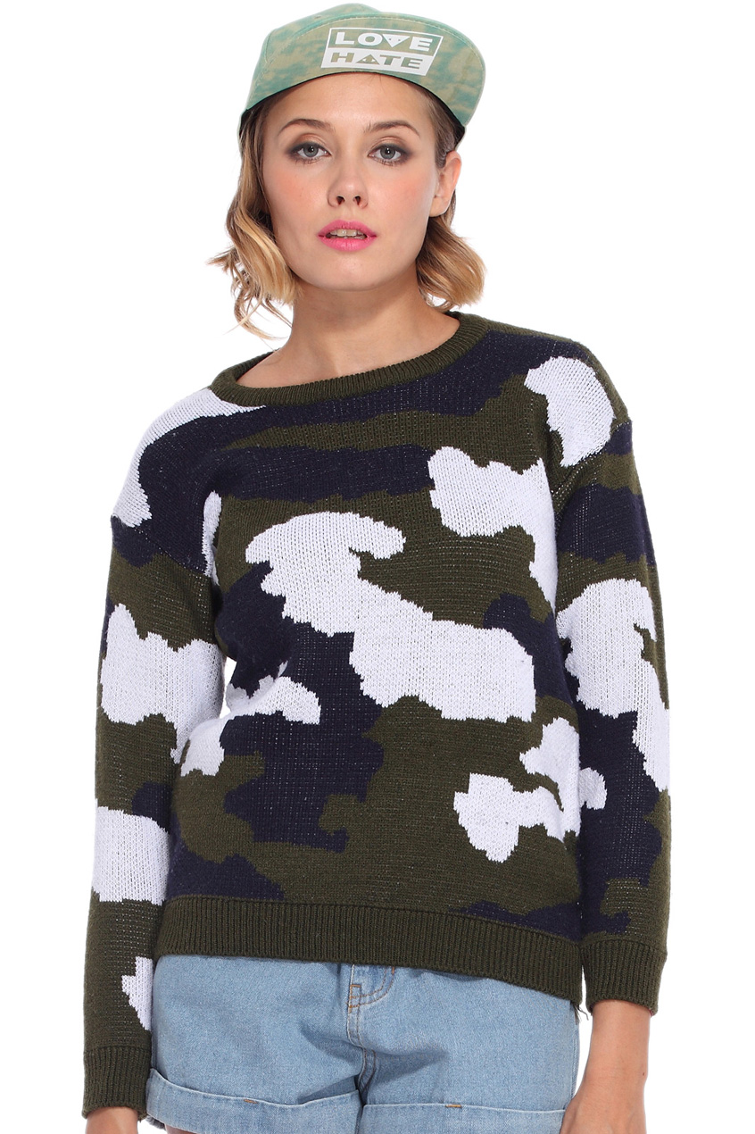 ROMWE | Camouflage Army Green Jumper, The Latest Street Fashion