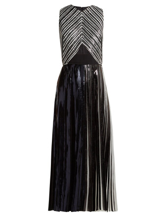 dress pleated silver black