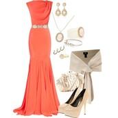 dress,clothes,scarf,shawl,earrings,shoes,purse,salmon,orange,nude,pearl,jewelry,high heels,heels,sleeveless,form fitting,long dress