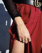 jewels,timberlands,red dress,dress,slit dress,belt,gucci,gucci belt,logo belt,bracelets,gold bracelet,gold ring,ring,gold jewelry,jewelry,minimalist jewelry