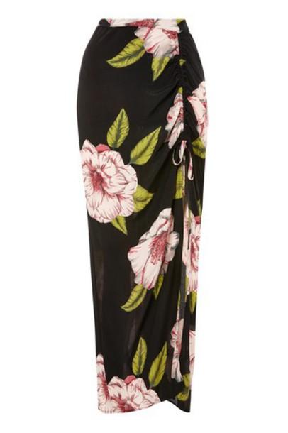 Topshop skirt maxi skirt maxi floral print black