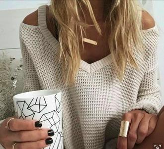Cream Off The Shoulder Sweater - Shop for Cream Off The Shoulder ...